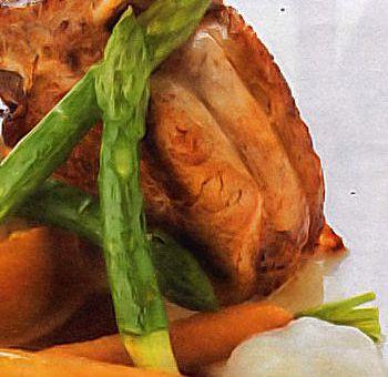 Côte de veau et risotto à la courge, espuma de lard virtuel