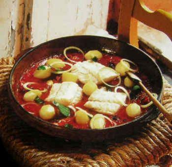 Morue tomate et olives