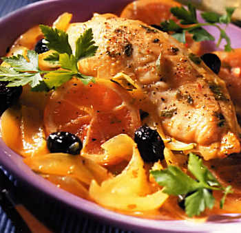 Tajine de poulet fenouil-orange