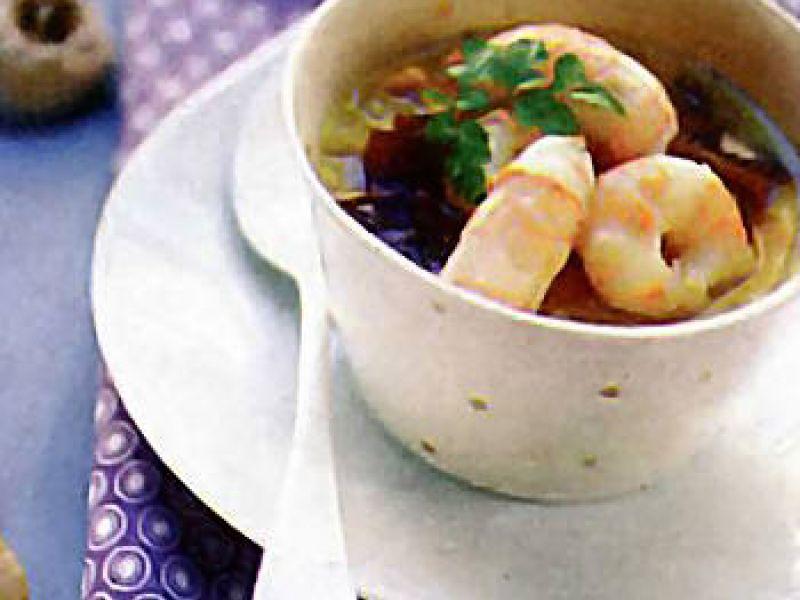 Soupe de crevettes au thé vert